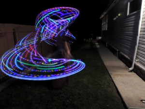 One of our JMU Free Flow club members spinning glow hoop