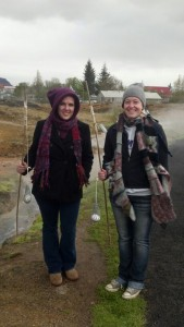ISAT graduate Mandy Jenkins and I boiling eggs in a geothermal stream (Hveragerdi, Iceland) -- May 2014
