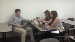 HON 300 students working on data analysis for service to the Small Business Development Center (SBDC)
