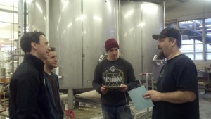 My senior capstone students in 2012 working with one of the lead brewers at Starr Hill